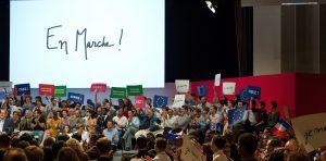PARIS, FRANCE - JULY 12:  A general view of atmosphere during the 'En Marche' political party meeting at Theatre de la Mutualite on July 12, 2016 in Paris, France. Emmanuel Macron created the political party 'En Marche' on April 6, 2016.  (Photo by Aurelien Meunier/Getty Images)