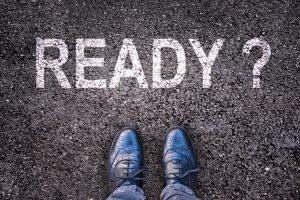 Question Ready ? written on an asphalt road