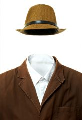 Jacket and hat isolated in white