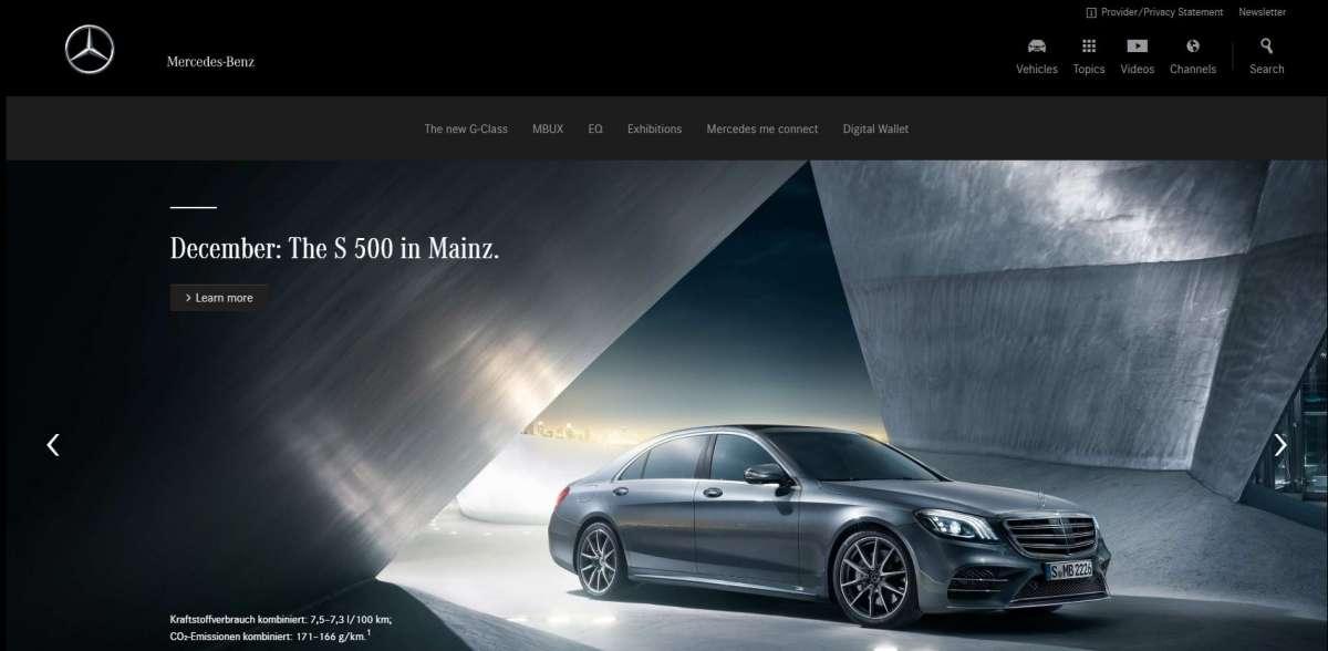 Copie d'écran du site corporate de Mercedes