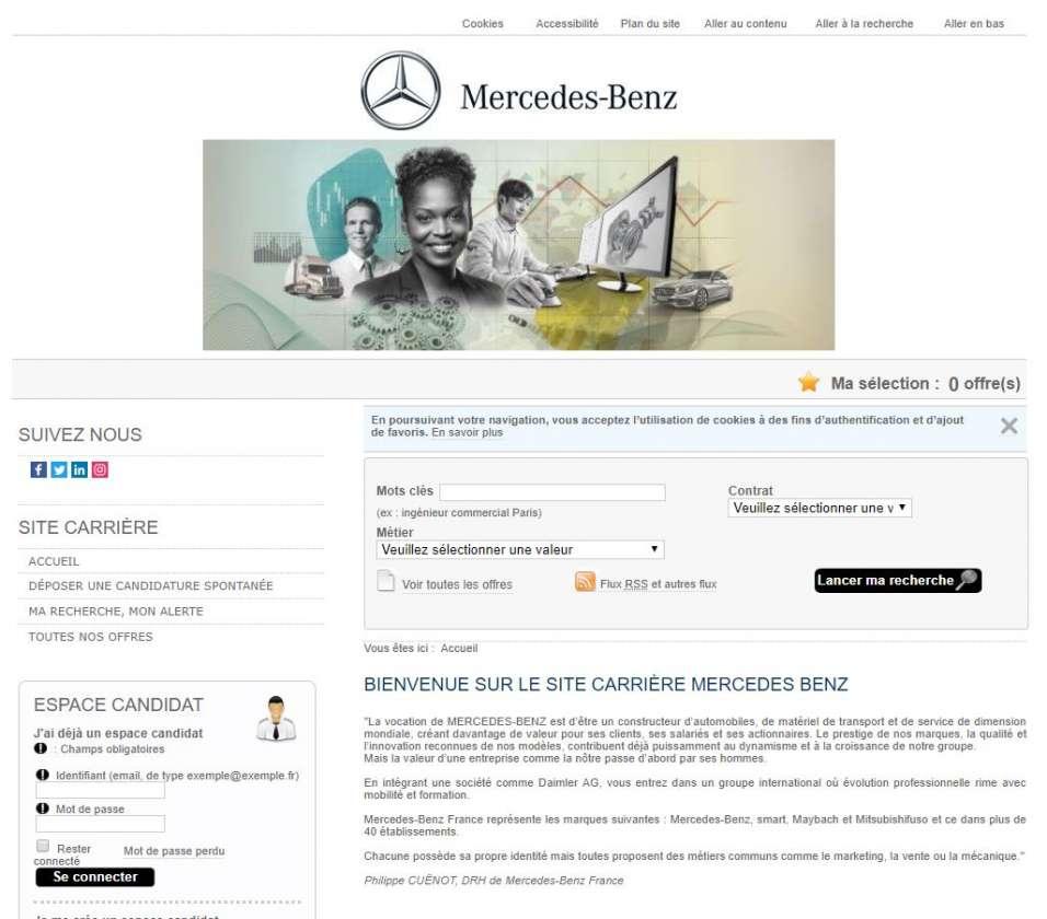 Copie d'écran du site carrière de Mercedes