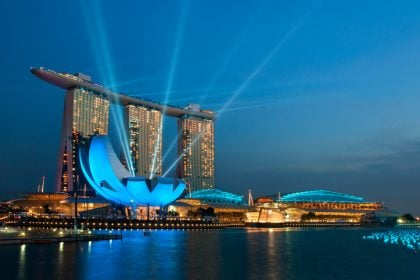Marina bay with laser lights.