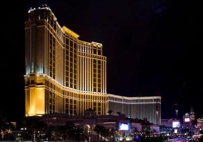 The Palazzo Hotel and Casino Resort at night.