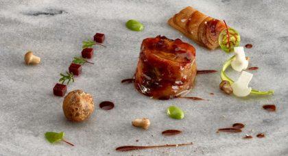 Une création du chef Martin Berasategui du restaurant Lasarte-Oria à Saint-Sébastien, en Espagne
