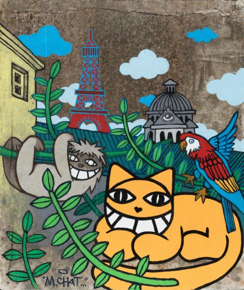 M Chat_Nouveaux emblêmes_Acryliqueetenduitbétonsurbois_65x55x2.5cm_2020