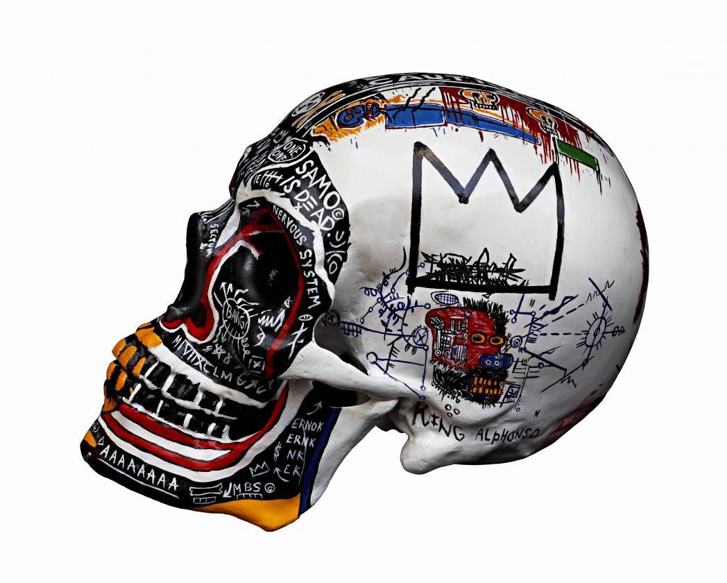 Skull Basquiat - Sculpture résine et poussière de marbre 13/22cm - Maxime Lhermet - Crédit photo : Olivier Maynard