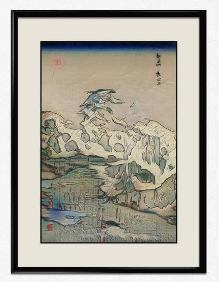 Two Passes, 2019, Electric Dreams of Ukiyo, Generative Adversarial Networks, imprimé sur papier washi. Crédit photo : Obvious